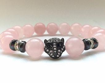 Black Panther Karma Rhodium Pave Leopard Head Bracelet with 10mm polished Rose Quartz beads, Crystal and Hematite Beads Bracelet