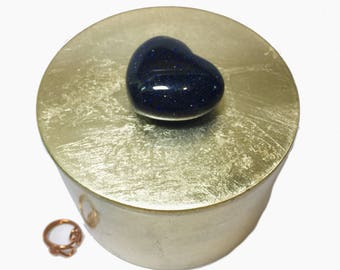 Blue Goldstone Gemstone HEART Gold Lacquer Box, Valentines Day Gift for Her, Heart Jewelry Keepsake Box, Valentines Day Box, Vanity Storage
