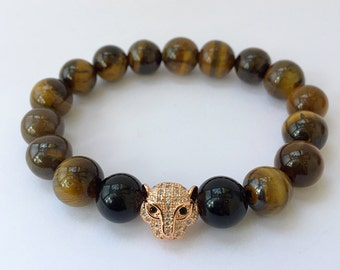 18kt Rose Gold Leopard Head, 11mm CZ Diamond  bracelet with 10mm Tiger Eye beads Men's or Women's Bracelet