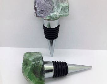 Gemstone Wine Stopper, Fluorite Bottle Stopper, Valentines Day Gift, Wine Gift for him or her, Purple and Green Stone Stopper