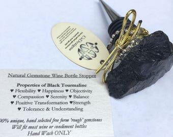 Gemstone Wine Stopper, Black Tourmaline Bottle Stopper, Valentines Day Wine Gift for him or her, Black Stone, Rough Black Tourmaline Stone