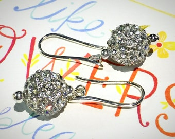 Silver Dangle Earrings,CZ pave Earring, Silver Pave Disco Ball, pave crystal earrings, Christmas, Wedding, Bridal