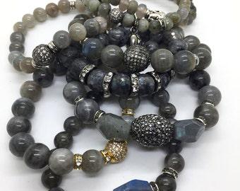 Micro Pave Labradorite Bracelet, Hematite Bracelet, Gemstone Bracelet, Birthstone Bracelet, Beaded Bracelet, Men Bracelet, Women Bracelet