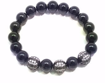 Onyx Bracelet, Black Beaded Bracelet, Micro Pave' Rhodium and Crystal Bracelet, Pave
