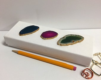 Agate Desk Accessory, Magnetic Box,pink agate,green Agate,Box Jewelry or Trinket Boxes with Polished Brazilian Agate Lids Pair