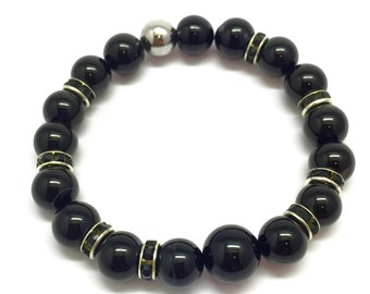 Men's bracelet Hematite, Black Onyx Bracelet, Men Bead Bracelet, Mens Bracelet, Black Bracelet, Adjustable Bracelets, Unisex bracelet