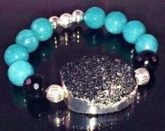 Amazonite Bracelet, Druzy Quartz Bracelet, Onyx, Silver edged Jet Black Druzy Quartz Bracelet, Black Druzy Jewelry, Amazonite Jewelry