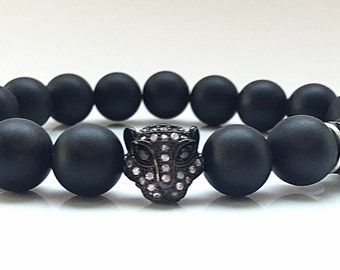 Authentic 11mm CZ Diamond Rhodium Leopard Head with 10mm matte Onyx beads Bracelet and Black Crystal Rondelles, Unisex