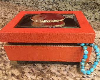 Agate Display Box | Jewelry Box | Large Agate Slice | Gold Leaf | Geode Box | Home Decor | Desk Accessory | Gemstone Box Becor