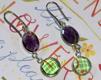 Crystal Dangle Earrings, Green and Purple Crystal Drop Earrings, Silver Bezel Earrings, Silver Dangle Earrings, Crystal Earrings