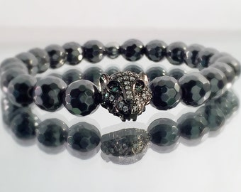 Hematite Bracelet, Black Leopard Head, CZ diamond Bracelet, faceted Black Hematite beads, Men's or Women's Bracelet