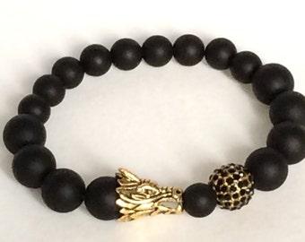 Gift Dragon, jewelry Black Beaded Bracelet, jewelry Dragon bracelet, Black jewelry boho jewelry,Charm Bracelet, Chakra Bracelet