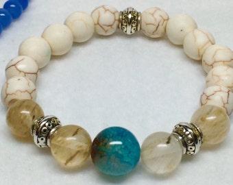 White Turquoise Bracelet, Rutilated Quartz, Howlite, Aqua Fire Agate bead, Pewter Beads Bracelet, Boho Bracelet