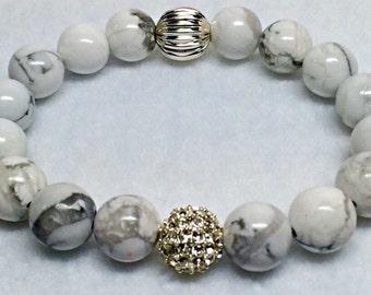 White Howlite Gemstone Bracelet   Wedding Bracelet   Silver Beaded Bracelet   Silver Pave   White Bracelet   Healing Bracelet  White Howlite