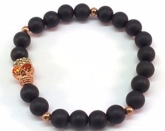 Rose Gold Skull, Skull Bead Bracelet, Rose Gold Bracelet, Onyx Bracelet, Crystals Skull Bead, Colorado Crystals Matte Onyx unisex bracelet