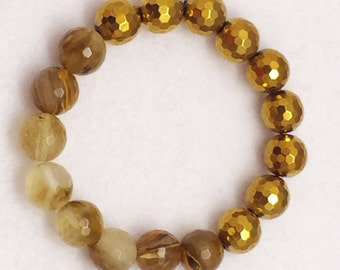 Gold Hematite Gemstone Bracelet, Rutilated Quartz Beads, Electroplated Magnetic Beads, 12mm Beads Bracelet, Stretch, Stacking