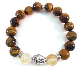 Yoga Buddha Tiger Eye beads w Pewter Buddha Smokey Quartz beads Unisex Bracelet