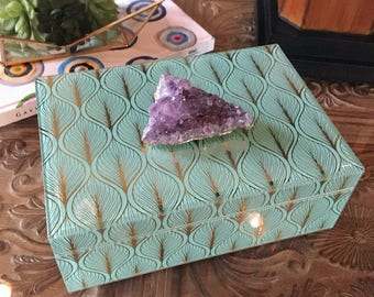 Large Amethyst Cluster Home Decor Box, Valentine's Day gift in Robin's Egg Blue. Gemstone storage for vanity desk table jewelry keys remotes