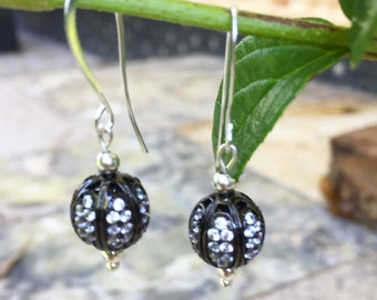 Silver Earrings, Black Filigree Crystal,Swarovski Bridal Earrings, Jet Black Earrings, Sterling Silver Post, Dangle Drop, Handmade in USA