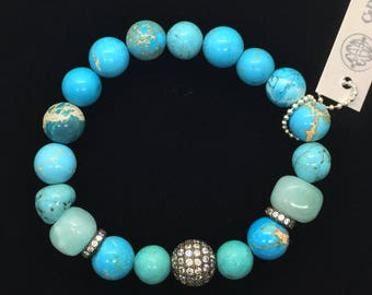 Turquoise & Jades Beads Stretch Bracelet, Valentines Day Gift, AAA CZ Micro Pave Gunmetal Silver, Healing Jewelry Layering Boho Green Blue