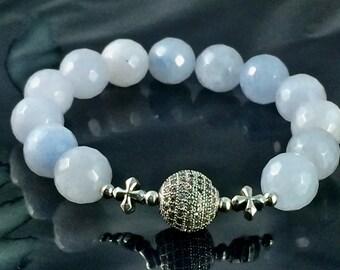 Blue Jade Bracelet, 12mm, Silver Pave Bead, Sterling Silver, Stretch Bracelet, Faceted Jade Beads, Blue Jade Bracelet