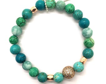 Mixed Turquoise & Rose Gold Pave Bead Bracelet, Valentines Day Gift for her or him, Micro Pave Healing Jewelry, Boho Yoga Beach Friendship
