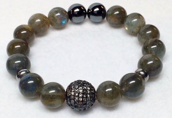 Labradorite Bracelet, Pave Zircon, Vintage Bead, Black Pave, Gunmetal Pave Silver, Natural Stones, Gray Beads, Labradorite, Yoga Jewelry