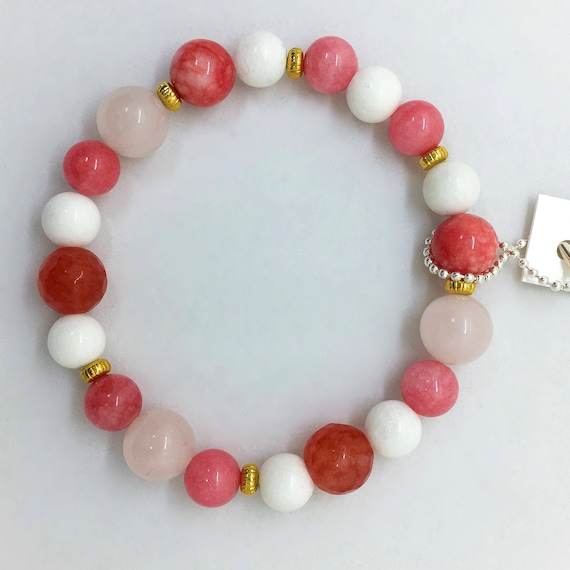 Rose Quartz Bracelet with Pink and White Jade, Valentines Day Gift, Boho Gemstone Bracelet, Gift for her, Genuine, Colorful, Stretch, Gold