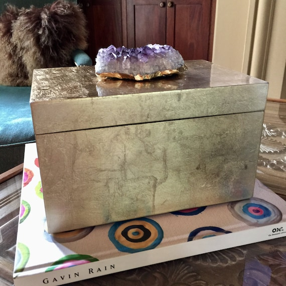 EXTRA LARGE Gold Brushed Decor Box with gorgeous Amethyst Cluster, Luxury tabletop home decor Display Box, beautifully conceals your devices