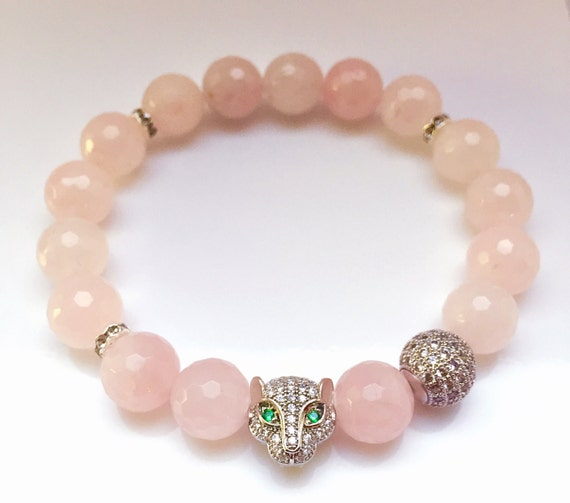 Rose Quartz Beads | Diamond Leopard Head Bracelet | Silver Pave CZ Diamonds Quartz Bracelet | Tiger Cat Bracelet | Stretch Bracelet