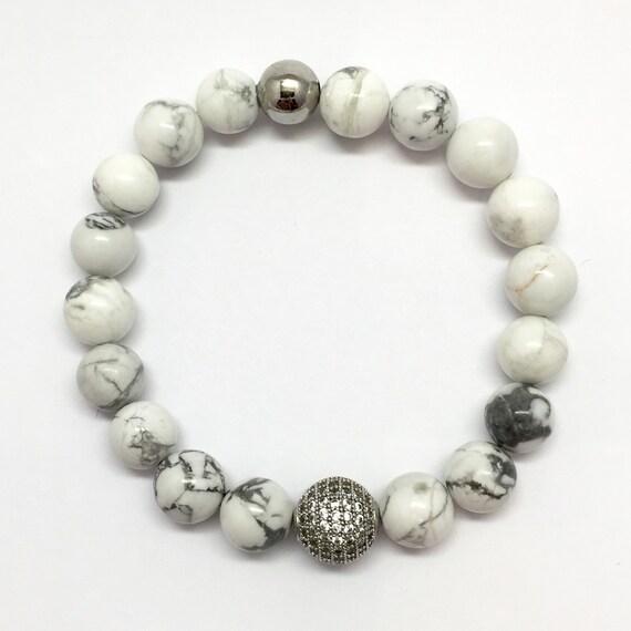 White Turquoise pave CZ Bracelet, White, Micro pave White jewelry, black pave jewelry,men's bracelet, women's bracelet, buffalo turquoise