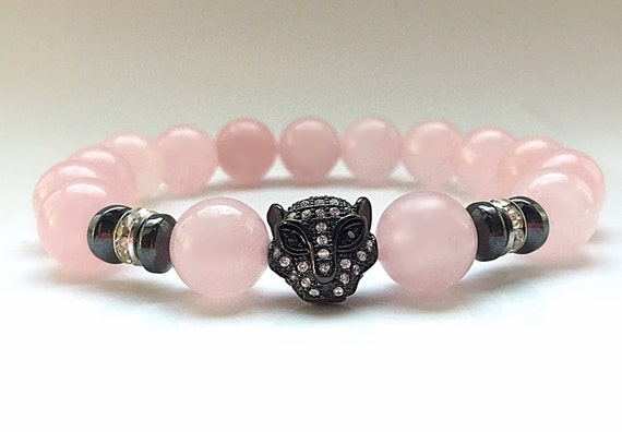 Black Panther Karma Rhodium Pave Leopard Head Bracelet with 10mm polished Rose Quartz beads, Crystal and Hematite Beads Bracelet