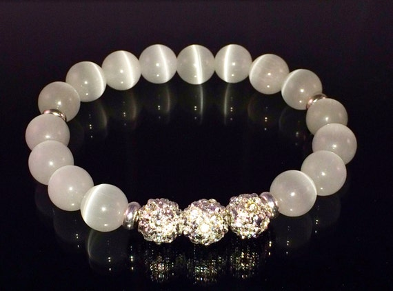 White bracelet Cat's Eye beaded Silver Crystal bracelet unisex bridal jewelry