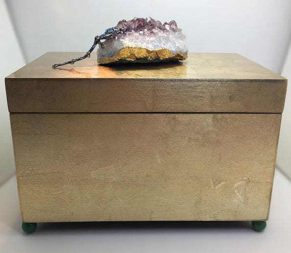 Brushed Gold Amethyst Gemstone Decorative Box, Valentines Day Gift for Her, Large Home Decor Amethyst Box, Remote Control Caddy, Dragonfly