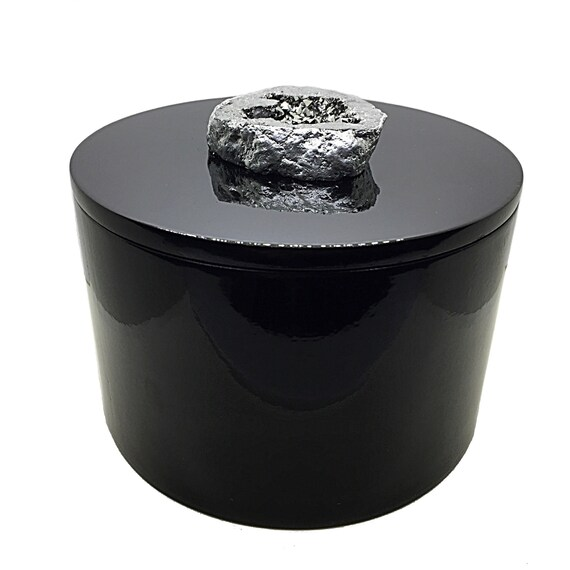 Black Geode Box, Round Black Lacquer Box, Valentines Day Gift, titanium geode druzy slice, Jewelry Storage, desk, office, Wedding, home
