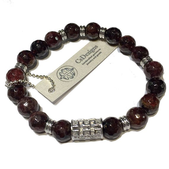 Garnet Bracelet, Faceted Garnet, January Birthstone Bracelet, Chakra Bead Bracelet, Micro Pave Bracelet, Silver Pave, Gifts for Him or Her
