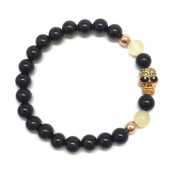 Gold Skull Bracelet - Gold Skull Beaded Bracelet, Skull Bracelet, Mens Bracelet, Skull Bead Bracelet,Man Bracelet,Guy Bracelet,Men's Jewelry