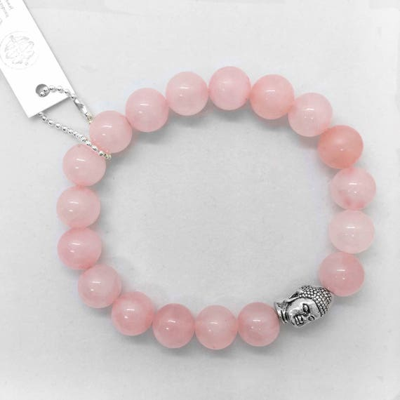 Rose Quartz, Buddha Head Bracelet, Valentines Day Gift, Gemstone of Love, Boho Rose Quartz Healing Bracelet, Pewter Buddha Head Pink jewelry