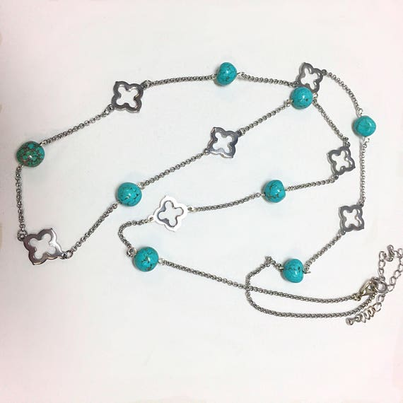 Turquoise Necklace, Gemstone Chain, Beaded Chain, December Birthstone, Rodeo Jewelry, Southwestern, Boho, healing Necklace, Womens Turquoise