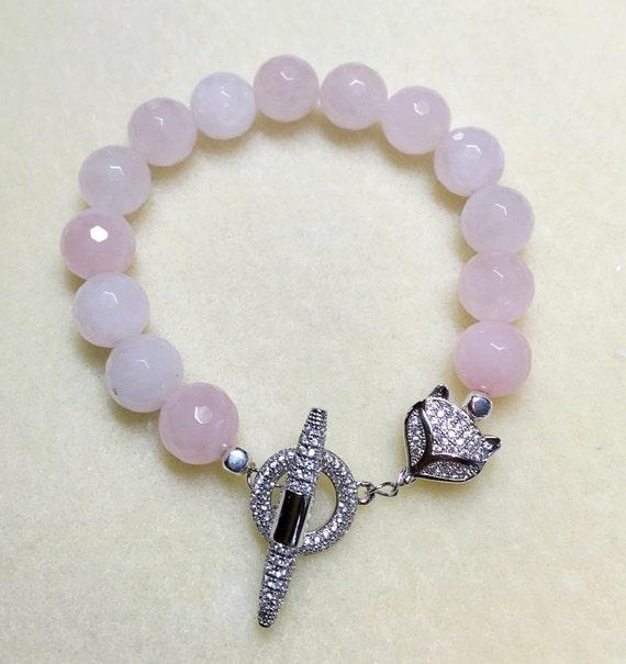 Fox bracelet Fox charm pink bracelet, howlite bracelet, silver pave pink jewelry, White beads, Bracelet pink gemstone silver fox