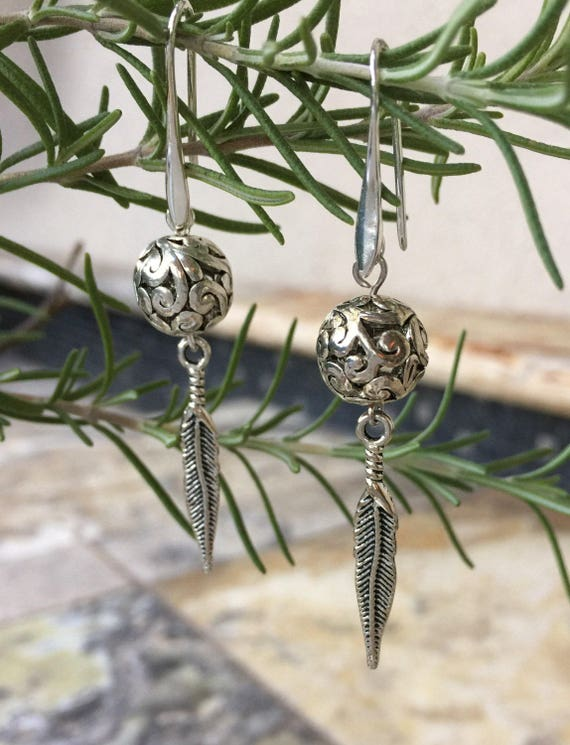 Antique Silver, Filigree Scroll Bead, Silver Feather, Dangle Earrings, Filigree Drop Earrings, Boho Earrings, Yoga Earrings, Tribal Earrings