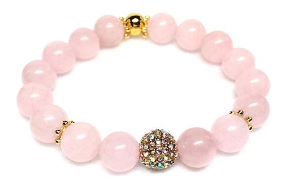 Rose Quartz Bracelet, Aurora Borealis Micro Pave, Pink Quartz Jewelry, AB Pave, Gold Pave Bracelet, Pink Gemstone Jewelry, Quartz Jewelry