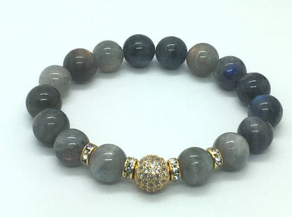 Genuine Labradorite Bracelet, Gold Micro Pave Jewelry, Boho Chic Bracelet, Gemstone Bracelet, Birthstone Bracelet, Mens Women Bracelet