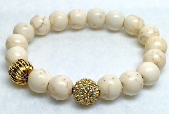 Howlite Beads Bracelet, Boho, White Turquoise, Pave, Turquoise, Micro Pave Bracelet, Wedding Jewelry, Beige Gemstone Bracelet, Csdezigns