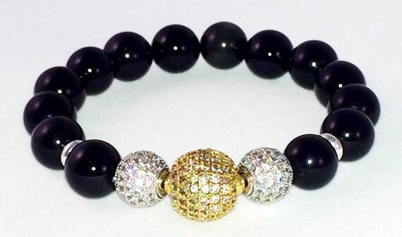 Obsidian bracelet, Mens bracelet, Beaded bracelet, Men Stone bracelet, Mens calming bracelet, Meditation Bracelet, Black Bead Bracelet