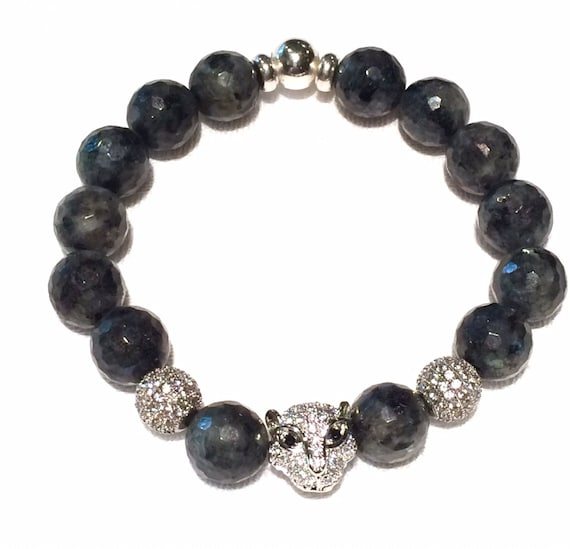Silver Leopard Head, 11mm CZ Diamonds Bracelet with Labradorite beads and two Silver Micro Pave' beads, Men's or Women's Bracelet