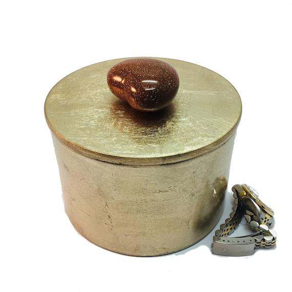 Goldstone Gemstone HEART, Gold Lacquer Decorative Box, Valentines Day Gift, Healing Gift, Jewelry Vanity Storage