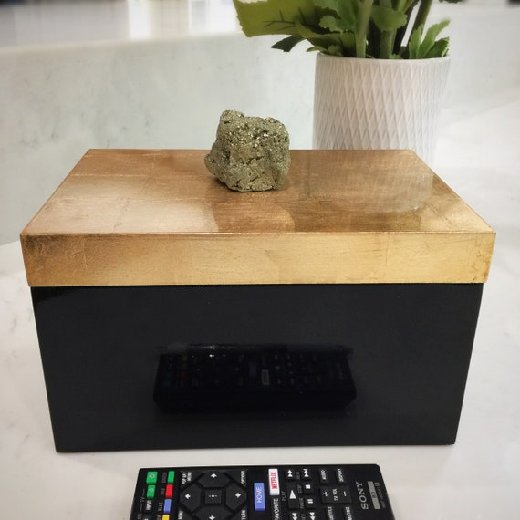 Gold and Black Lacquered Box with Natural rough Pyrite Stone Knob. EXTRA LARGE size to conceal your TV remotes, jewelry or any stash.