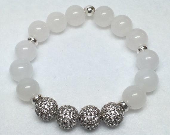 White Jade Bracelet, Silver Bracelet, CZ Bead Bracelet, Jade Bracelet, Silver Micro Pave' beads, Pave bracelet, CsDezigns, White Jewelry