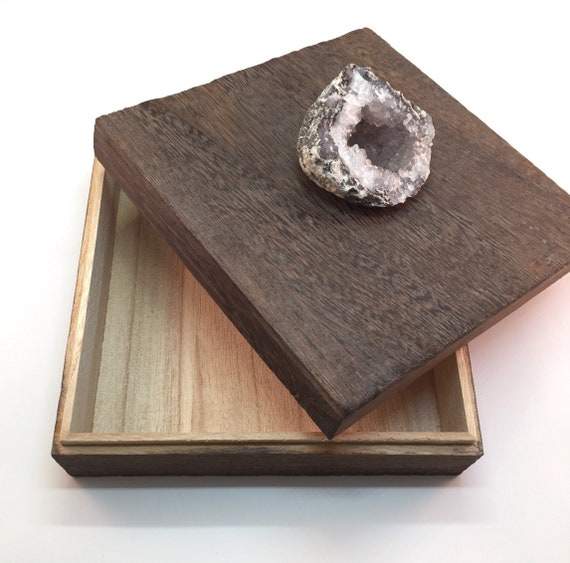 Natural Druzy Geode Decorative Box, Wooden Gemstone Box, Valentine's Day gift for him, office, desk, vanity, valet, tabletop. rock hounds